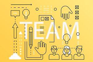 Team word infographics concept