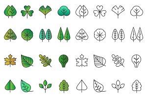 Tree leaves icons set
