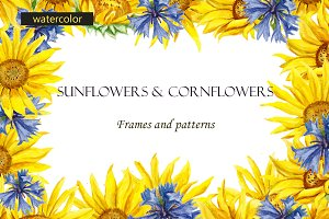 Sunflowers and cornflowers frames