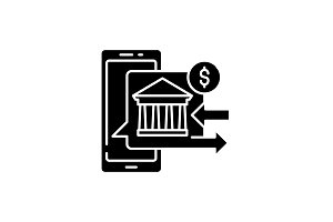 Online banking black icon, vector