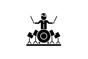Drummer black icon, vector sign on