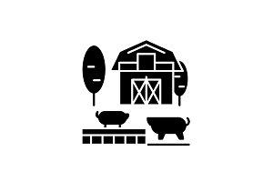 Livestock black icon, vector sign on