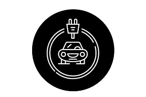 Electrics cars black icon, vector