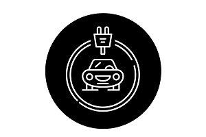 Electrics cars black icon, vector