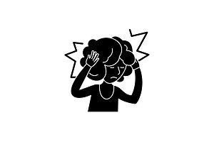 Headache black icon, vector sign on