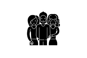 Friends black icon, vector sign on