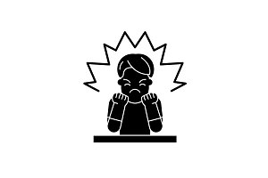 Anger black icon, vector sign on
