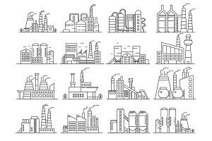 Line Factory buildings icons set
