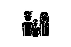 Young family black icon, vector sign