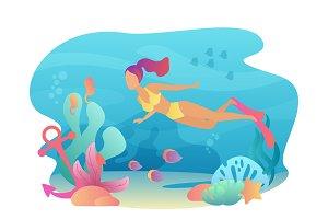 Woman Scuba Diver snorkeling