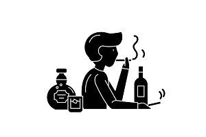 Bad habits black icon, vector sign