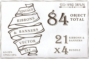 Old ribbon & banner set 01