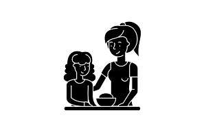Mom and daughter black icon, vector