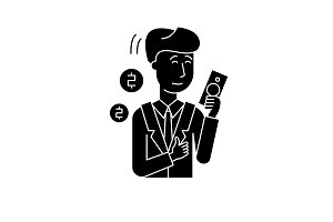 Rich man black icon, vector sign on