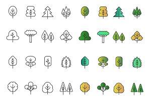 Gradient flat line, thin line trees