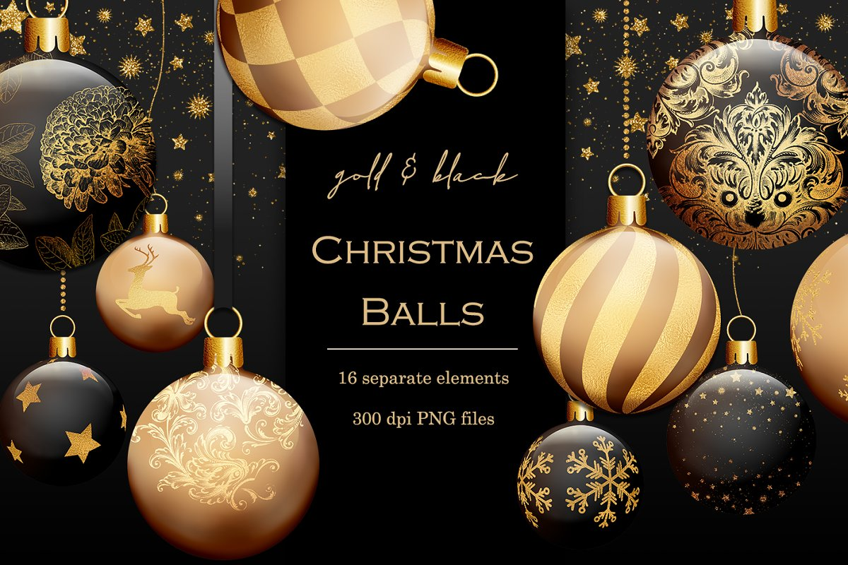 Gold And Black Christmas Baubles Custom Designed Graphic Objects