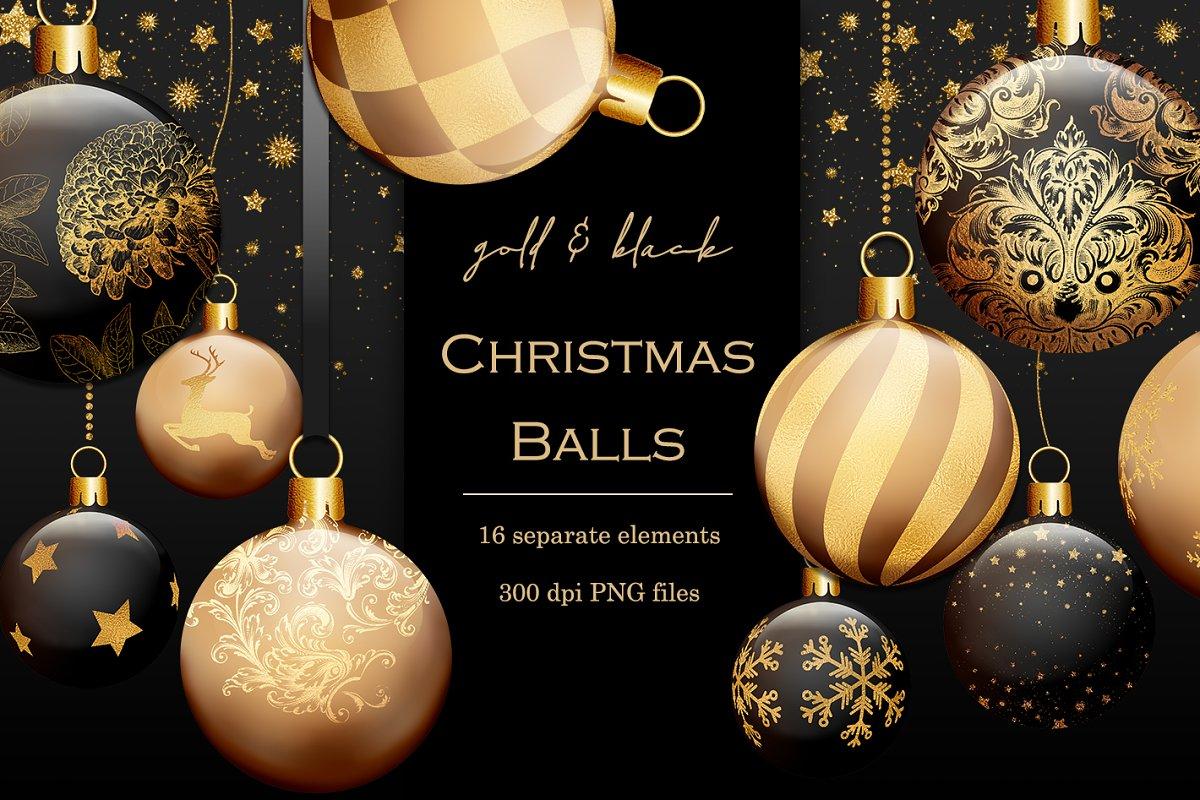 Black Christmas Balls.Gold And Black Christmas Baubles