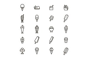 Ice Cream Thin Line  Set. Vector