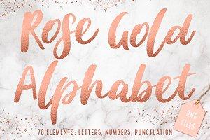 Rose gold foil alphabet clip art