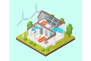 Solar Cell System in Home Concept 3d