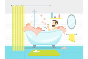 Man in Bathroom Bathtub with Foam