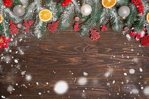 Christmas wooden background with