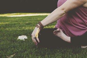 Mala bracelet in yoga twist