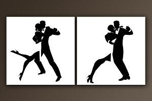 Silhouettes of Tango dancers