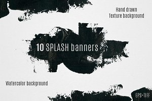 10 watercolor splash banners set