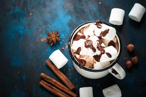 Chocolate with marshmallow in the
