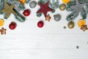 Composition with decorated Christmas