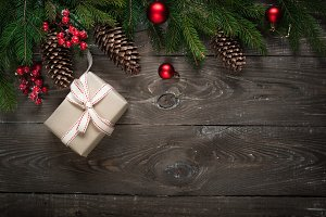 Christmas present and decorations at