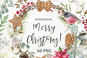 Watercolor Merry Christmas Clipart.