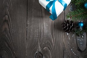 Christmas gift box decorations fir