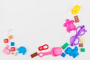 Kids toys background with colorful b