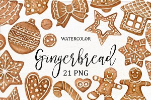 Watercolor Gingerbread Clipart.
