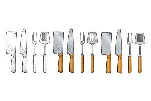 Set BBQ utensils. Spatula, fork