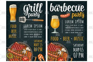 Vertical poster with bbq. Grill