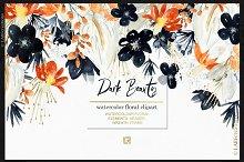 Dark Beauty. Watercolor flowers
