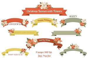 Christmas Banners with Flowers