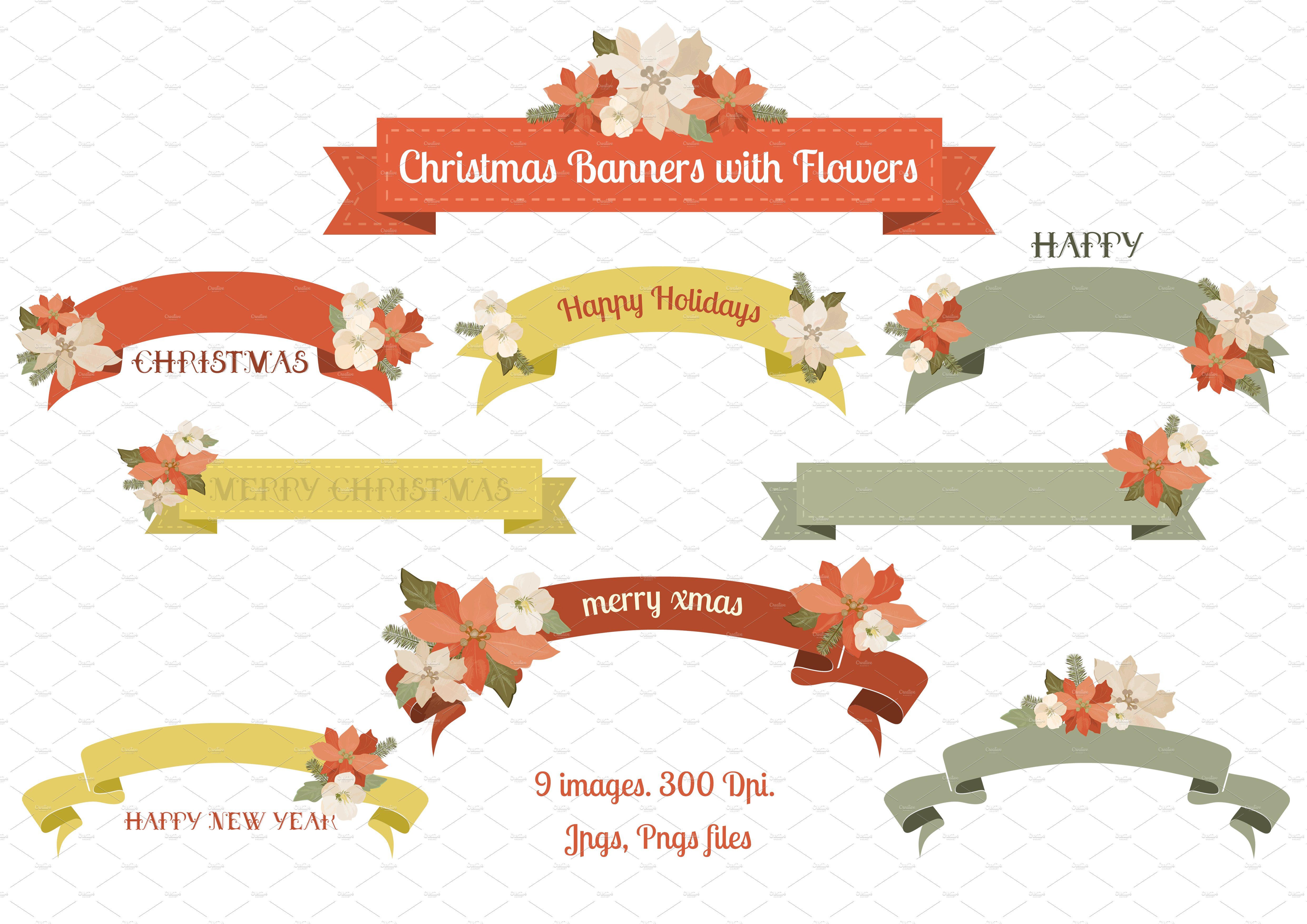 christmas banners with flowers illustrations creative market