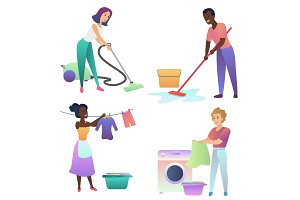 People cleaning home