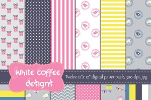 Baby shower digital paper