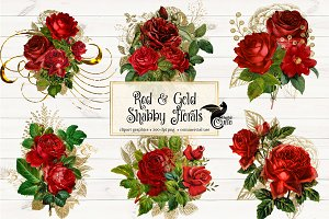 Red and Gold Shabby Florals