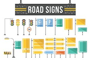 Flat Road Signs Set