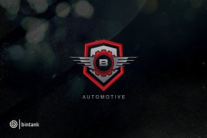 Automotive Shield Gear B Letter Logo