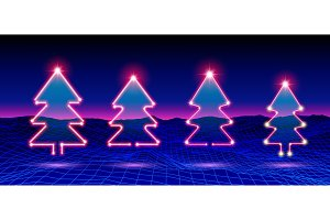 Christmas tree neon icon or element