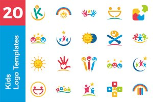 20 Logo Kids Template Bundle