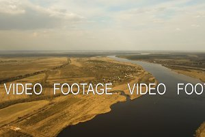 Landscape of the field, river.Aerial