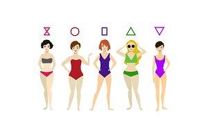 Cartoon Woman Body Shape Different T